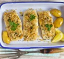 Peixe empanado em farinhas funcionais