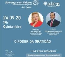 Poder da gratidão é assunto de live da ADCE Caxias do Sul